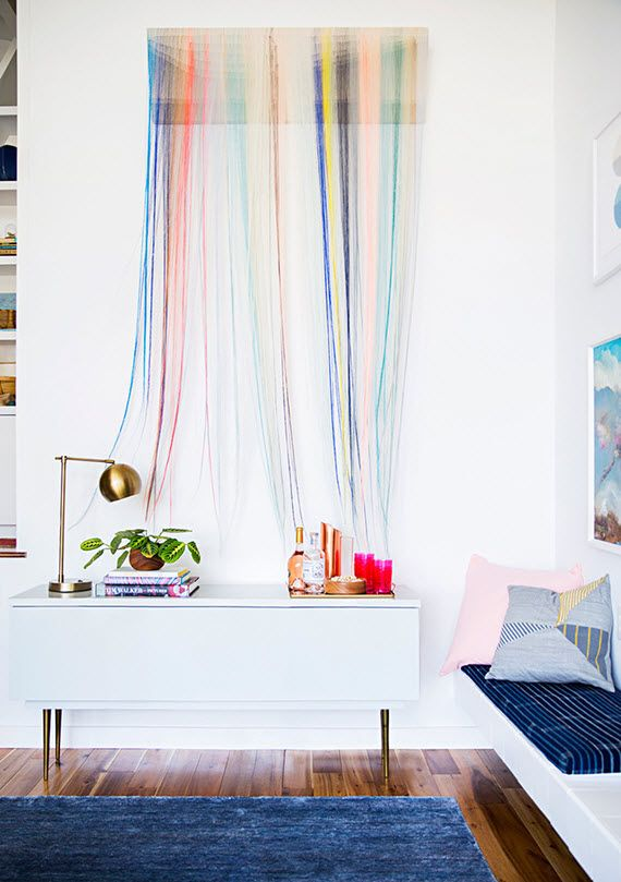 String Wall Art colorful string wall art // emily henderson's home // domino