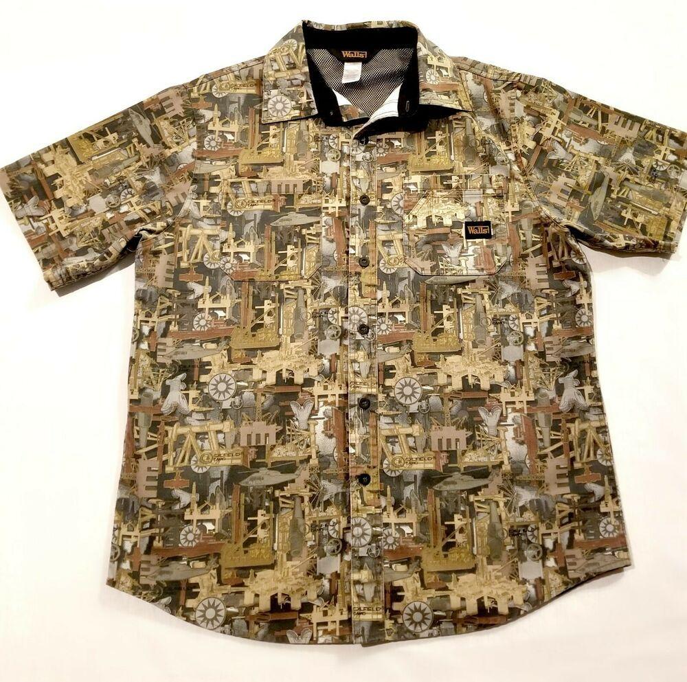 mens walls oilfield camo short sleeve cape back shirt on walls hunting coveralls id=78143