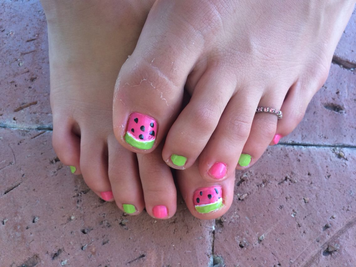 Watermelons for toes. #watermelon #toes #summer #pedicure | Nail Art ...