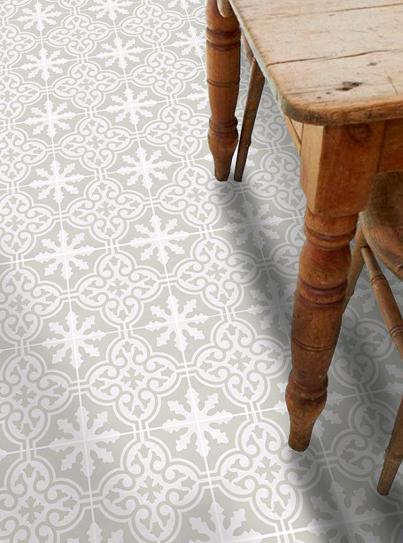 Vinyl Floor Tile Sticker - Floor decals - Carreaux Ciment Encaustic Floc Tile Sticker Pack in Silver Birch
