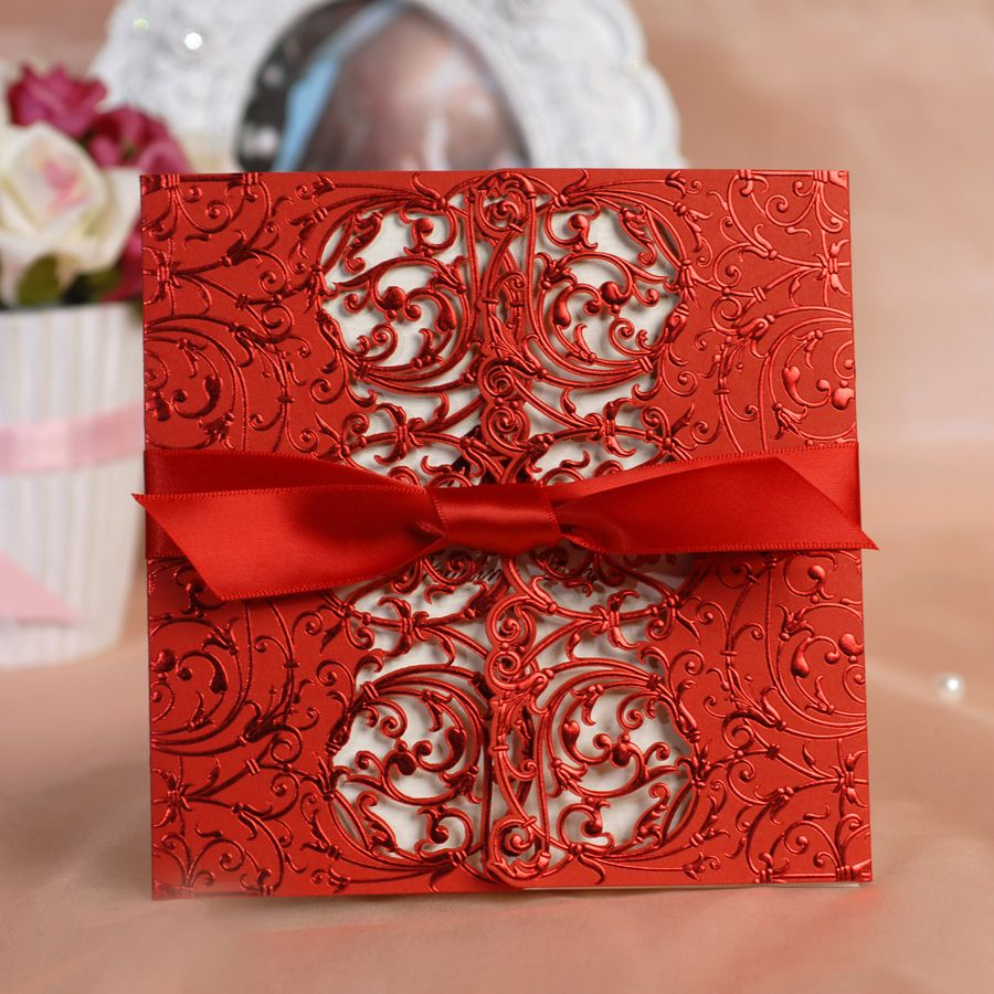 Awesome Red Lace Wedding Invitation | Rose Red | Pinterest | Lace ...