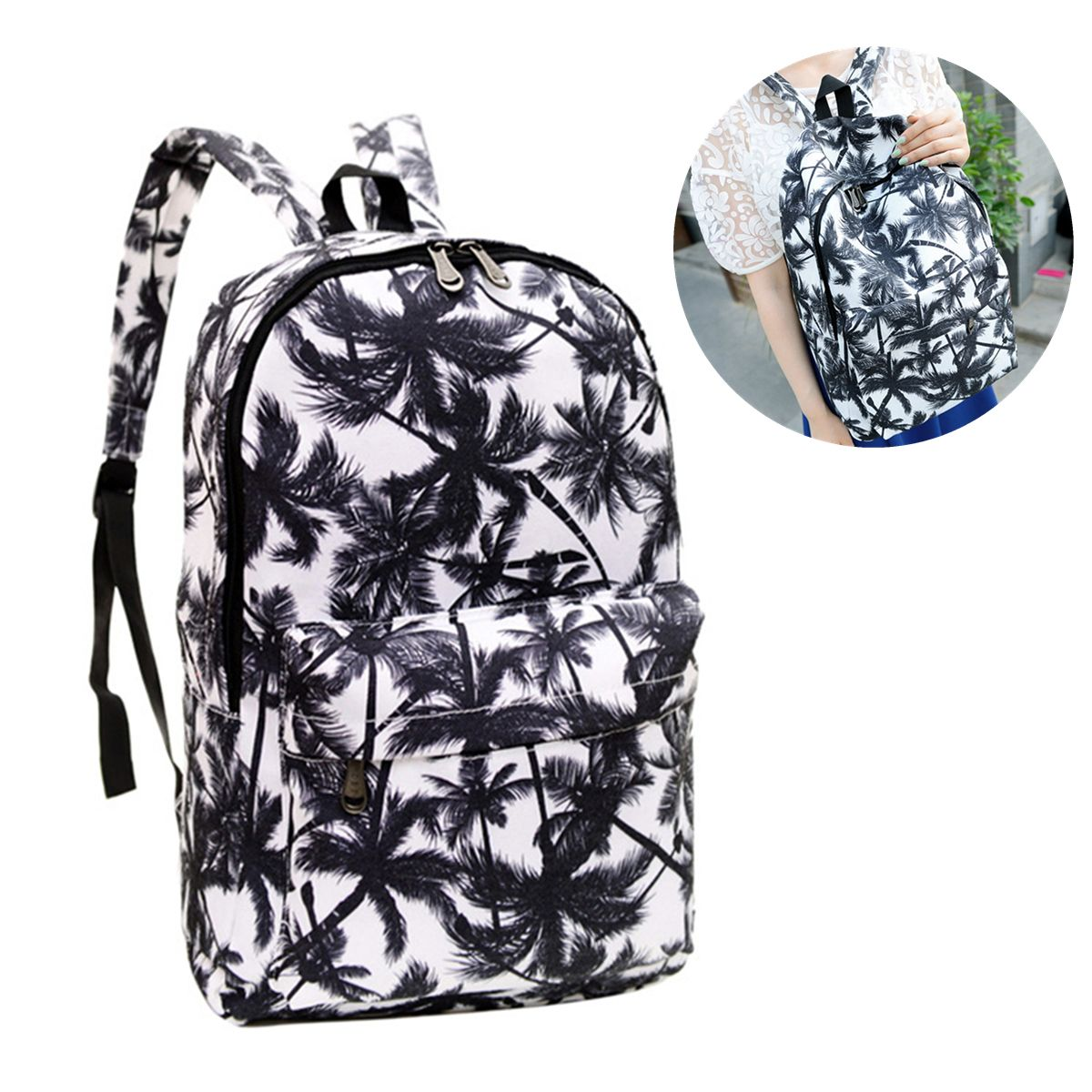 f19cc35b15 Canvas Coconut Palm Tree Printing Shoulder Rucksack Women Backpack School  Travel Bag