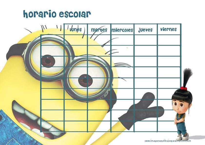 imprimir horarios escolares de minions | imagenes para imprimir