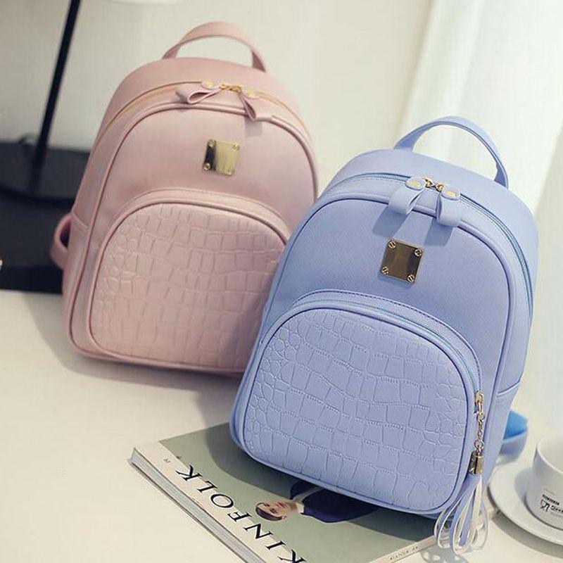 799ccb7ccdeb Women backpacks Fashion PU Leather shoulder bag crocodile pattern small backpack  school bags Mochila travel rucksack