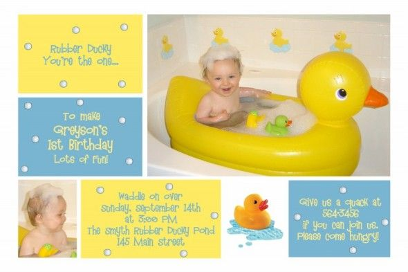 1st Birthday Invitation for Greyson Rubber Duck Photo Card – Rubber Duck Birthday Invitations