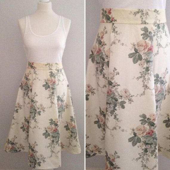 Cream floral pleated skirt, vintage fabric skirt, floral skirt, reclaimed fabric skirt, bridesmaid skirt, gift for her, made in England