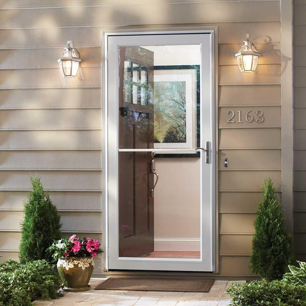 Andersen 36 In X 80 In 3000 Series White Self Storing Easy Install Storm Door H3sel36wh The Home Depot Andersen Storm Doors Aluminum Storm Doors Storm Door