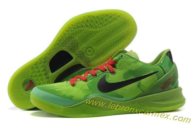 Nike Zoom Kobe 8 (VIII) Christmas Green Black Red Basketball Shoes Style  429659 701