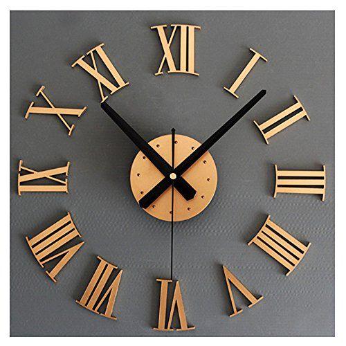 Elegant Modern Frameless Large 3D DIY Wall Clock Kit Decoration Home For Living  Room Bedroom Gold