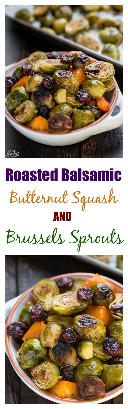 Balsamic Roasted Butternut Squash & Brussels Sprouts make an easy side dish