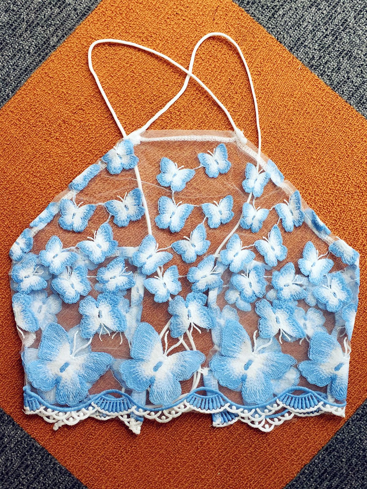 $10.67 Butterfly Embroidery Women's Halter Crop Top