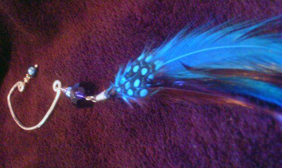 Blue Feather Ear Cuff by ElementalKarma on Etsy, $15.00