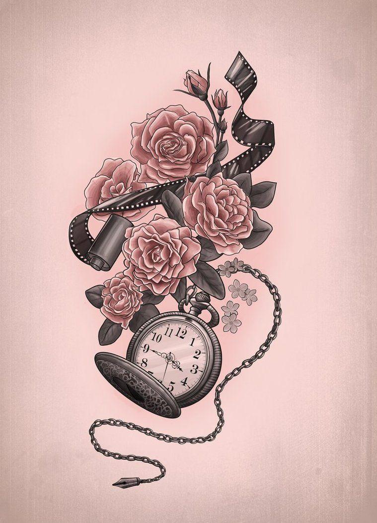 Pics photos heart lock flowers n key tattoo design - Clock Flower Tattoo With Film Strip Pretty Awesome