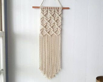 Small macrame wall hanging natural white cotton rope w wooden beads on dowel boho home - Makramee wandbehang ...