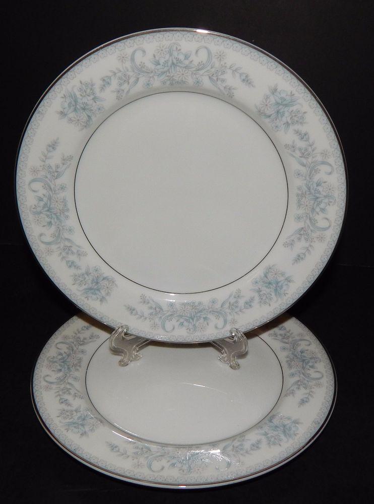 2) MIKASA 9009 DRESDEN ROSE Porcelain Silver Rimmed BREAD PLATES 7.5\