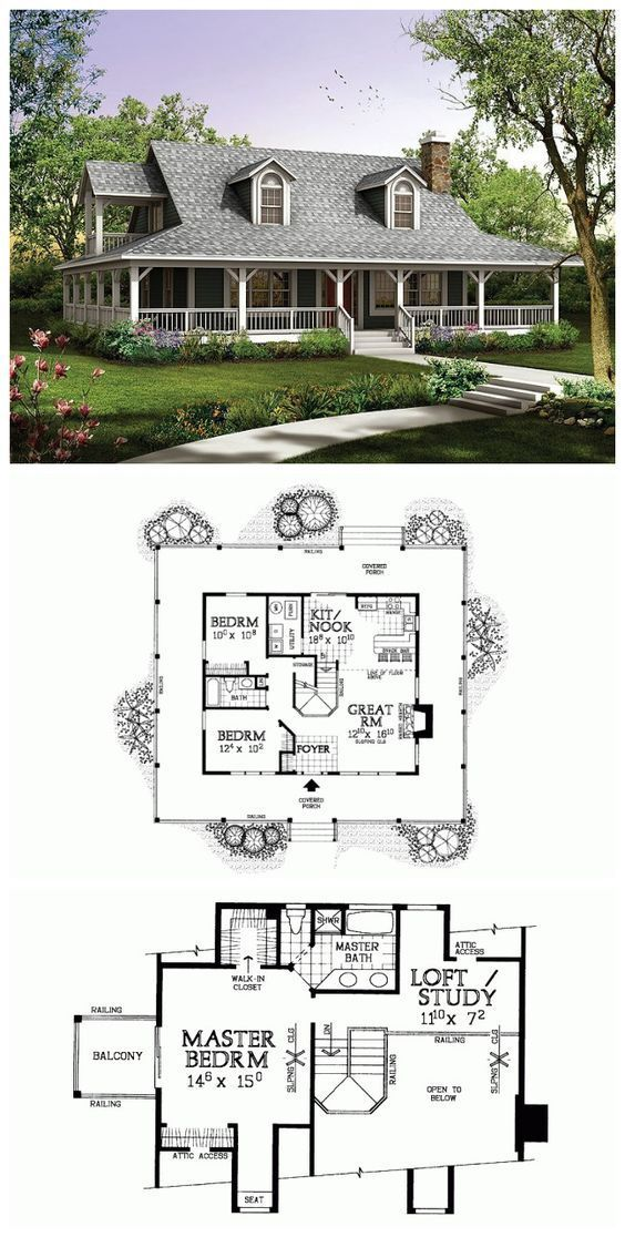 49 Most Popular Modern Dream House Exterior Design Ideas 3 In 2020: Country Style House Plan - 3 Beds 2 Baths 1673 Sq/Ft Plan #72-1020 In 2020