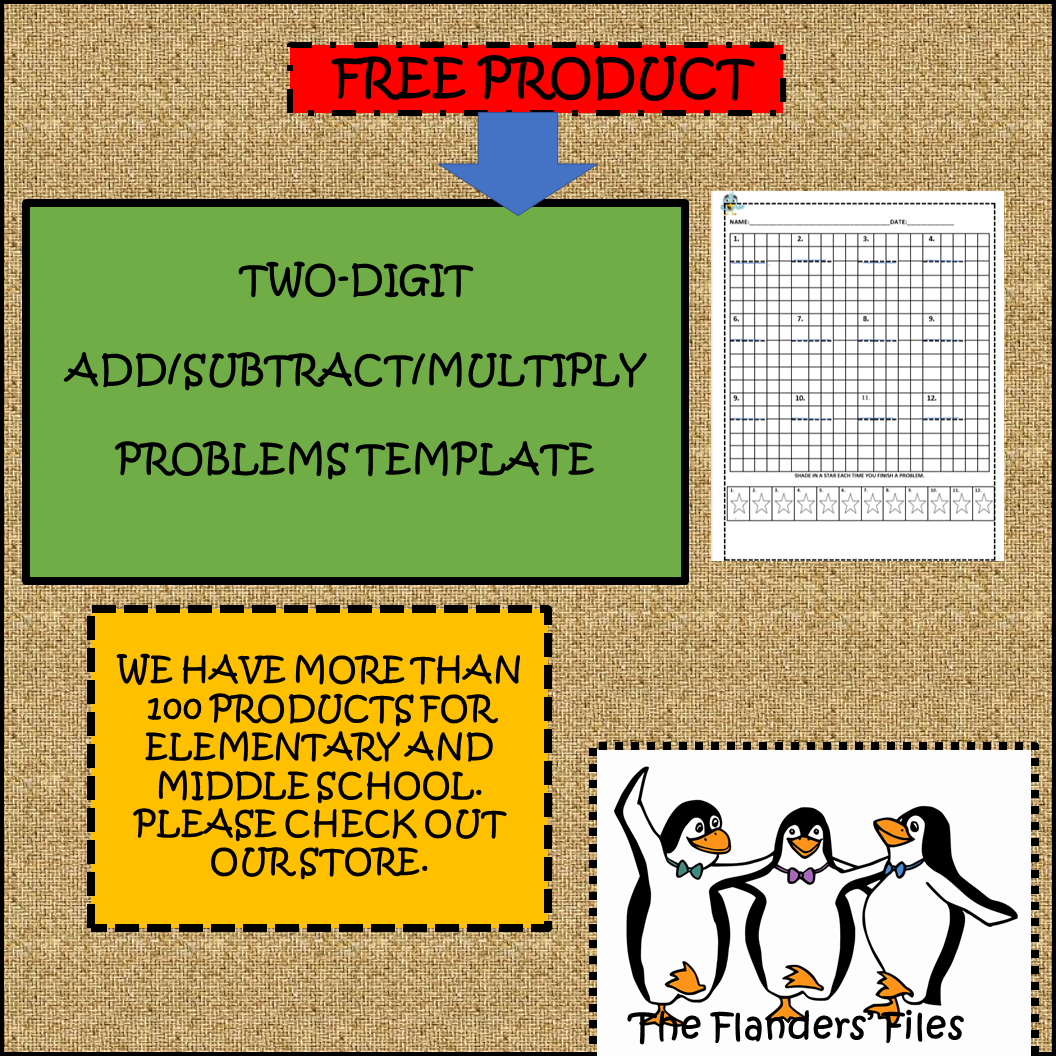 Math Template Worksheet For Add Subtract Multiply Problems