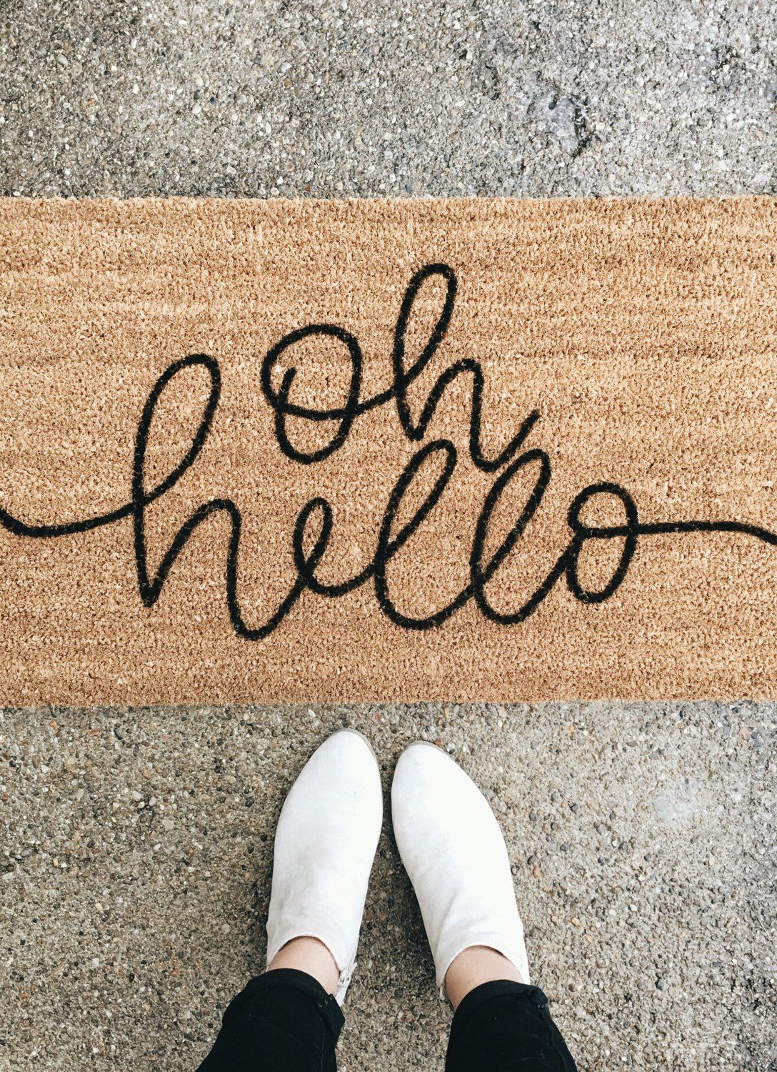 nice to see you too a welcoming and modern doormat  for the  - hello welcome mat  hand painted custom doormat  cute doormat  outdoordoormat  wedding gift  housewarming gift