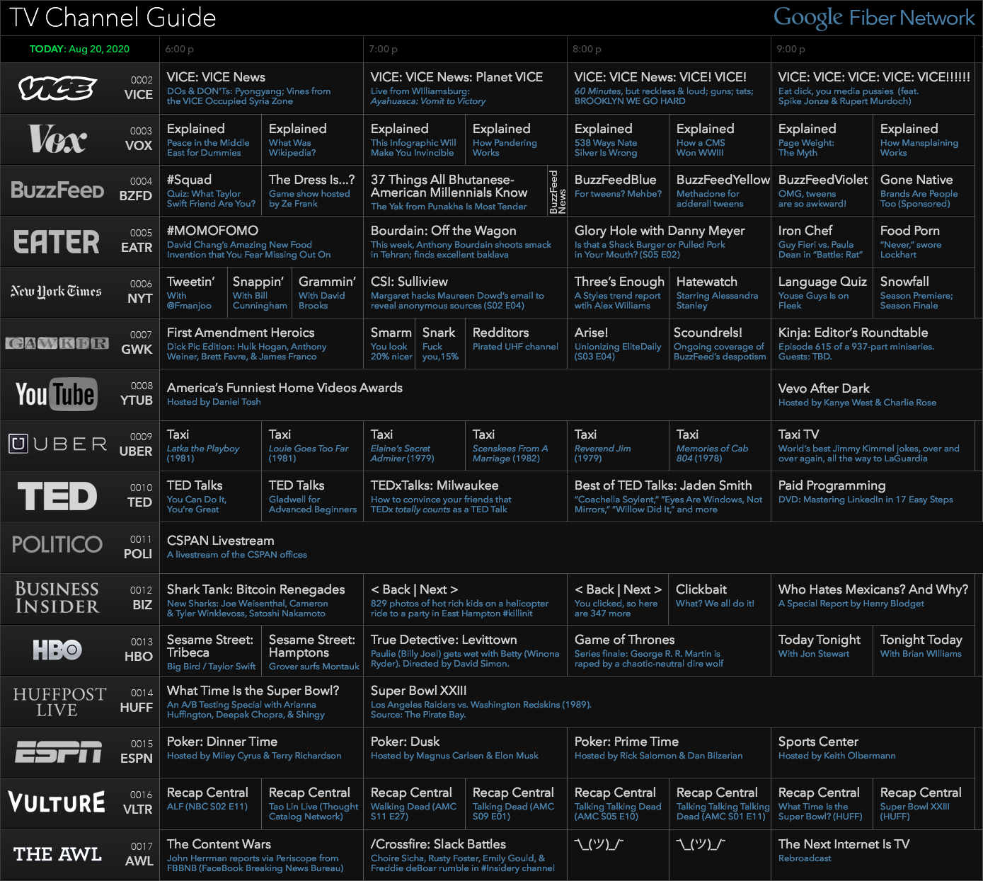 Tv Channel Guide From The Future Happy Making Channel Branding