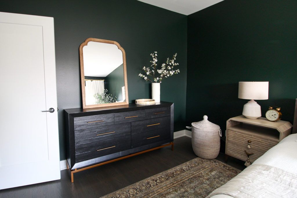 Dark Green Guest Room With Boho Style The Diy Playbook Dark Bedroom Walls Green And White Bedroom Bedroom Green