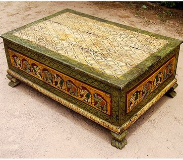 Rustic Distress Elephant Storage Box Sofa Coffee Table Eclectic Coffee  Tables