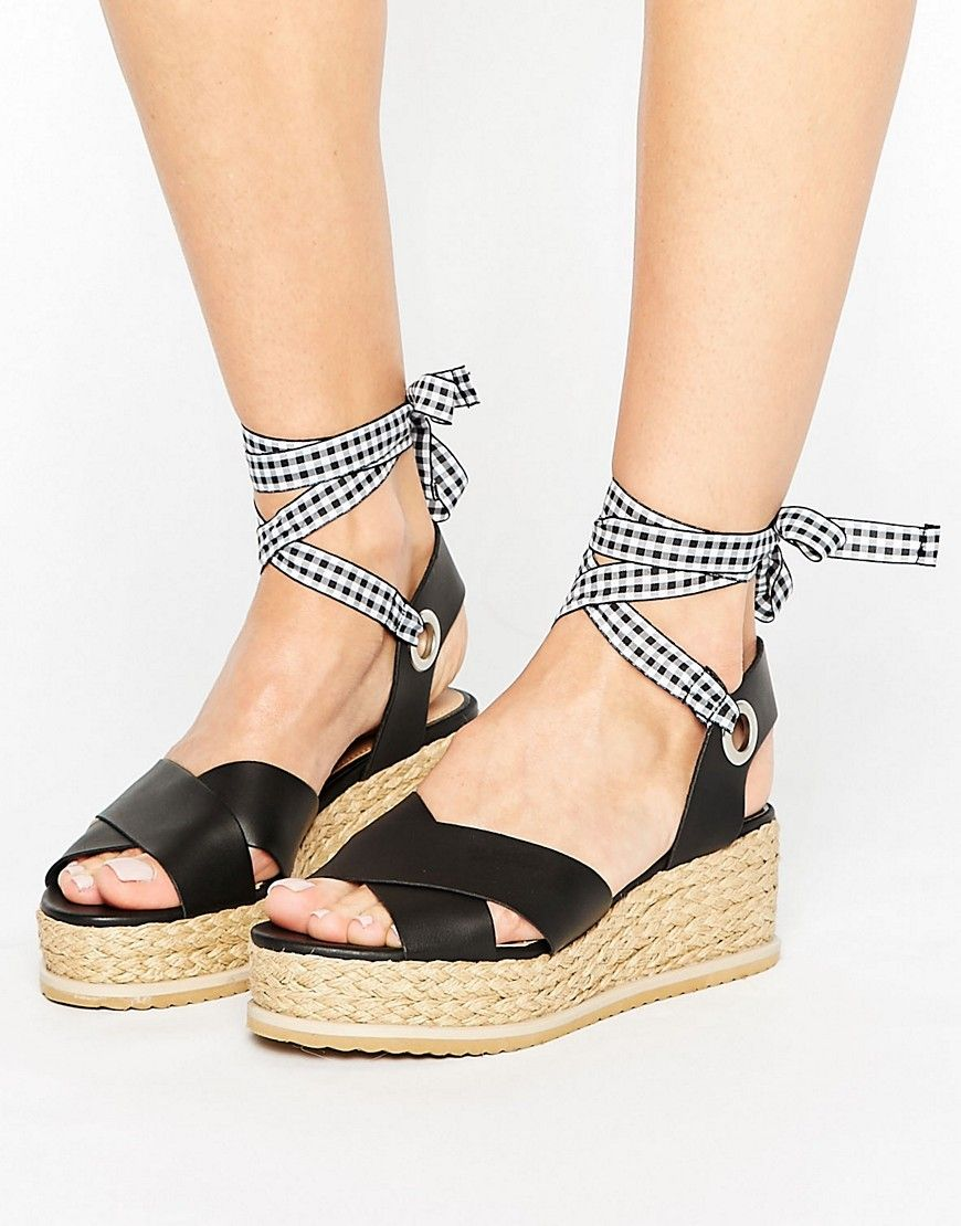 e9720891bc1 Miss Selfridge Gingham Strap Flatform Espadrille - Multi | Products ...