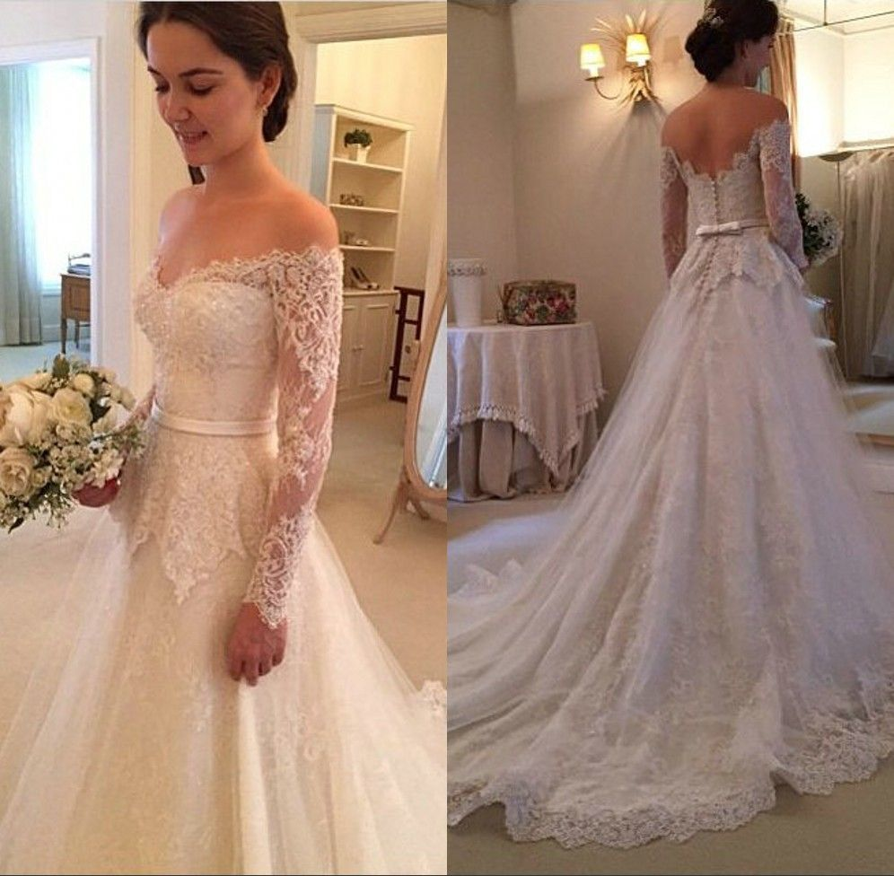 Off Shoulder Lace Covered Long Sleeves Wedding Dress Vintage Style Robe De Ma Long Sleeve Wedding Dress Lace Vintage Style Wedding Dresses Long Wedding Dresses