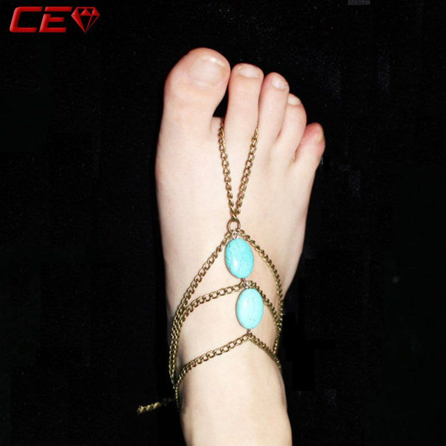 anklet ethnic turquoise for bracelet free native tassel chain barefoot shipping chic jewelry boho worldwide body multilayer bracelets beads foot wild sandal