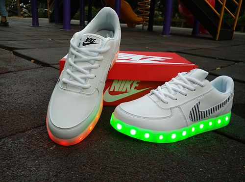 Nike Force White Lighting Up Sneakers Air For Soles One Light Led E2YWDHI9