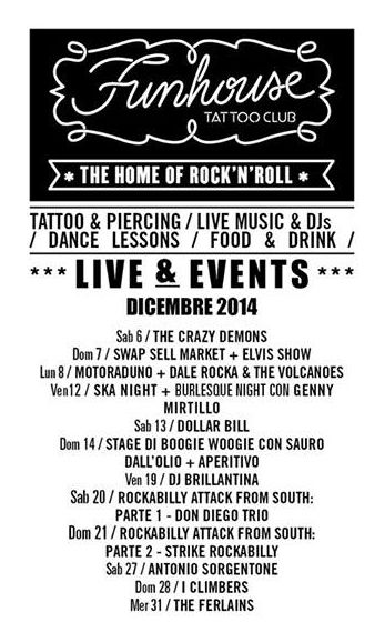 Funhouse Tattoo Club, live & events Dicembre 2014