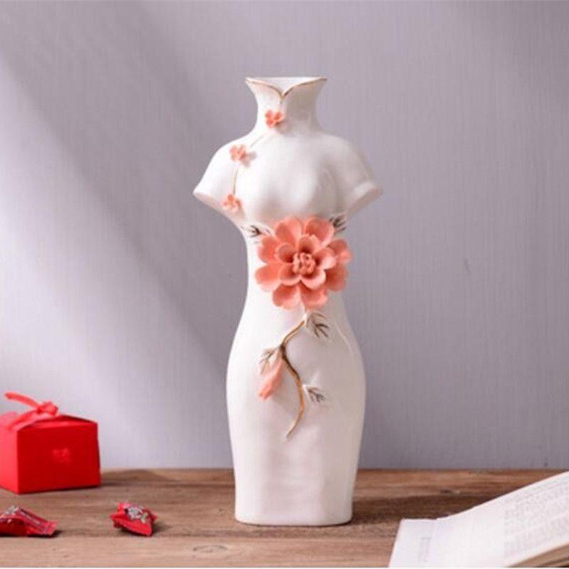 High quality Creative Chinese cheongsam style ceramic vase Wedding
