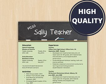 Elementary School Teacher Resume  Modern Resume Template