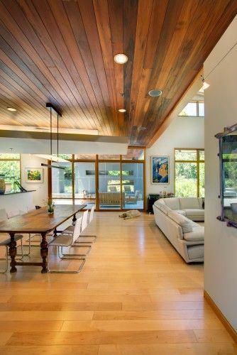 Modern Dining Room Wood Plank Ceiling Modern House Modern