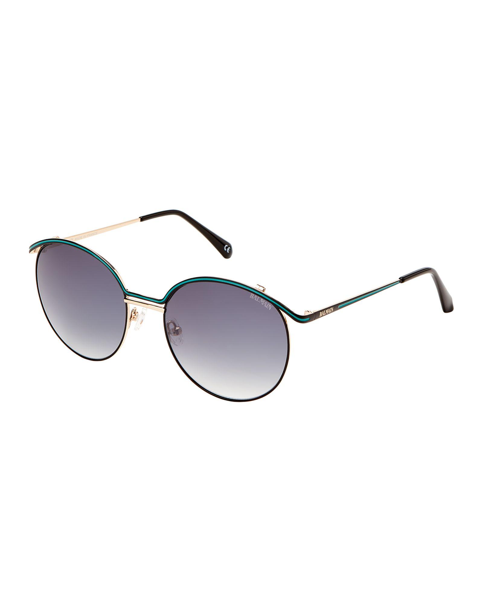 8200e3eaacf0b Balmain BL252902 Black   Green Round Sunglasses
