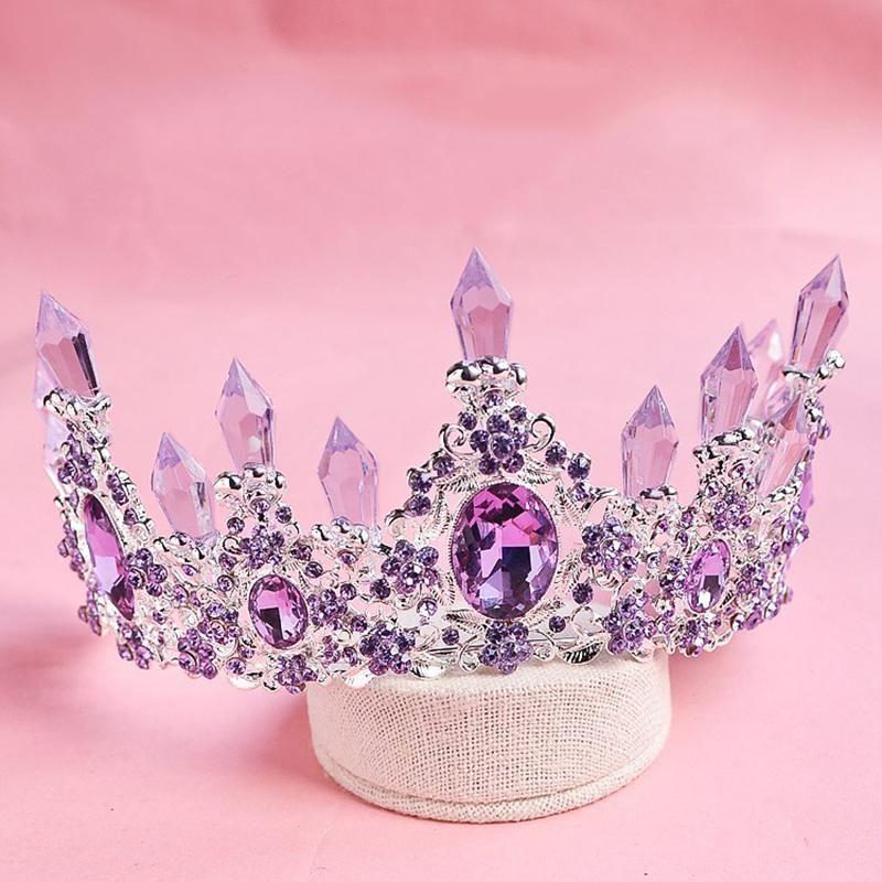 2Luxury Purple Crystal Beauty Princess Queen Crown Tiaras Magnificent Rhinestone Diadem #crowntiara