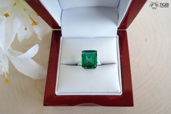 pin large man ring new emerald made boutique silver layer zirconia