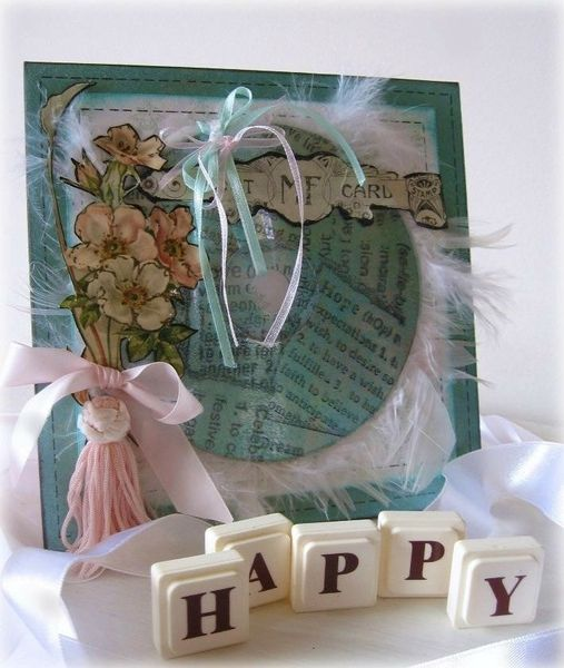 Melissa Frances hopeful card using a cd, feathers and lots of pretty inks  - gallery link Two Peas in a Bucket