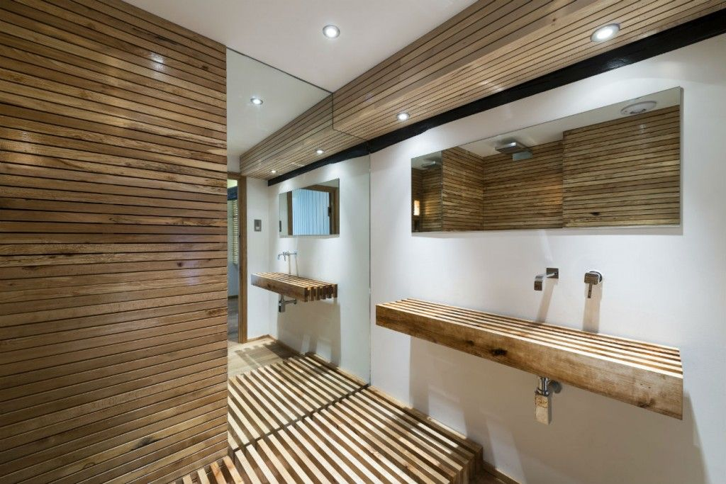 Beautiful Wooden Bathroom With Wooden Planks Floating Vanity And Large Mirror Also Wood Plank Clad Wall Ceiling Decoration Ideas: Stunning Water Mill Restoration in North Wales