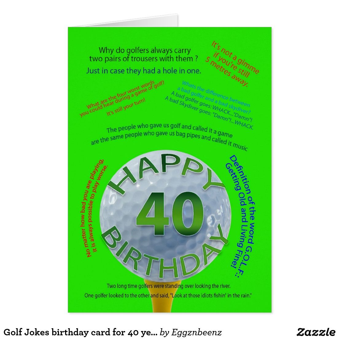 Golf Jokes Birthday Card For 40 Year Old 40 Years Golf And Golf