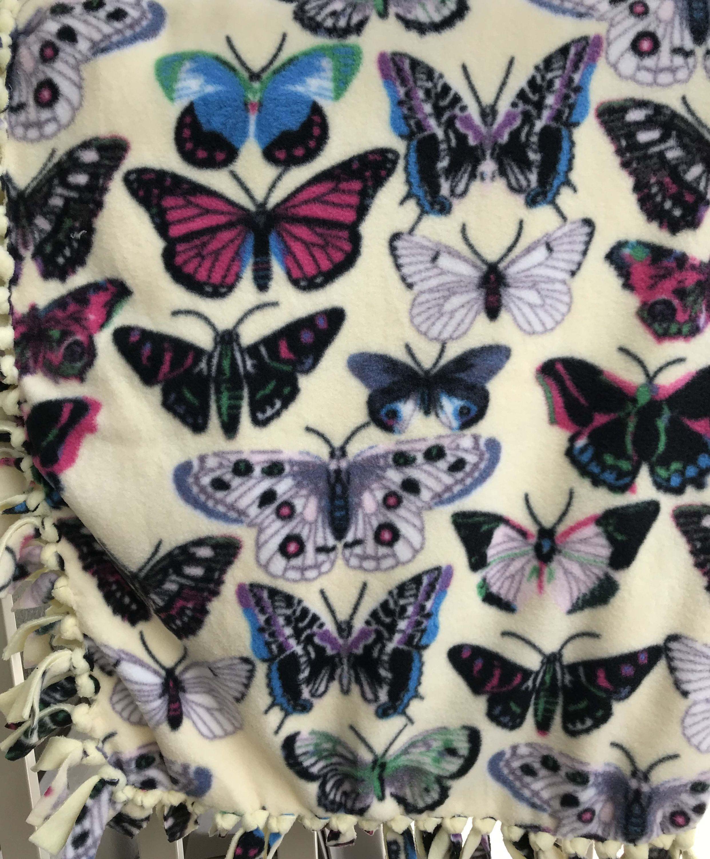 Butterflies fleece tied blanket gift for teen gift for child gift