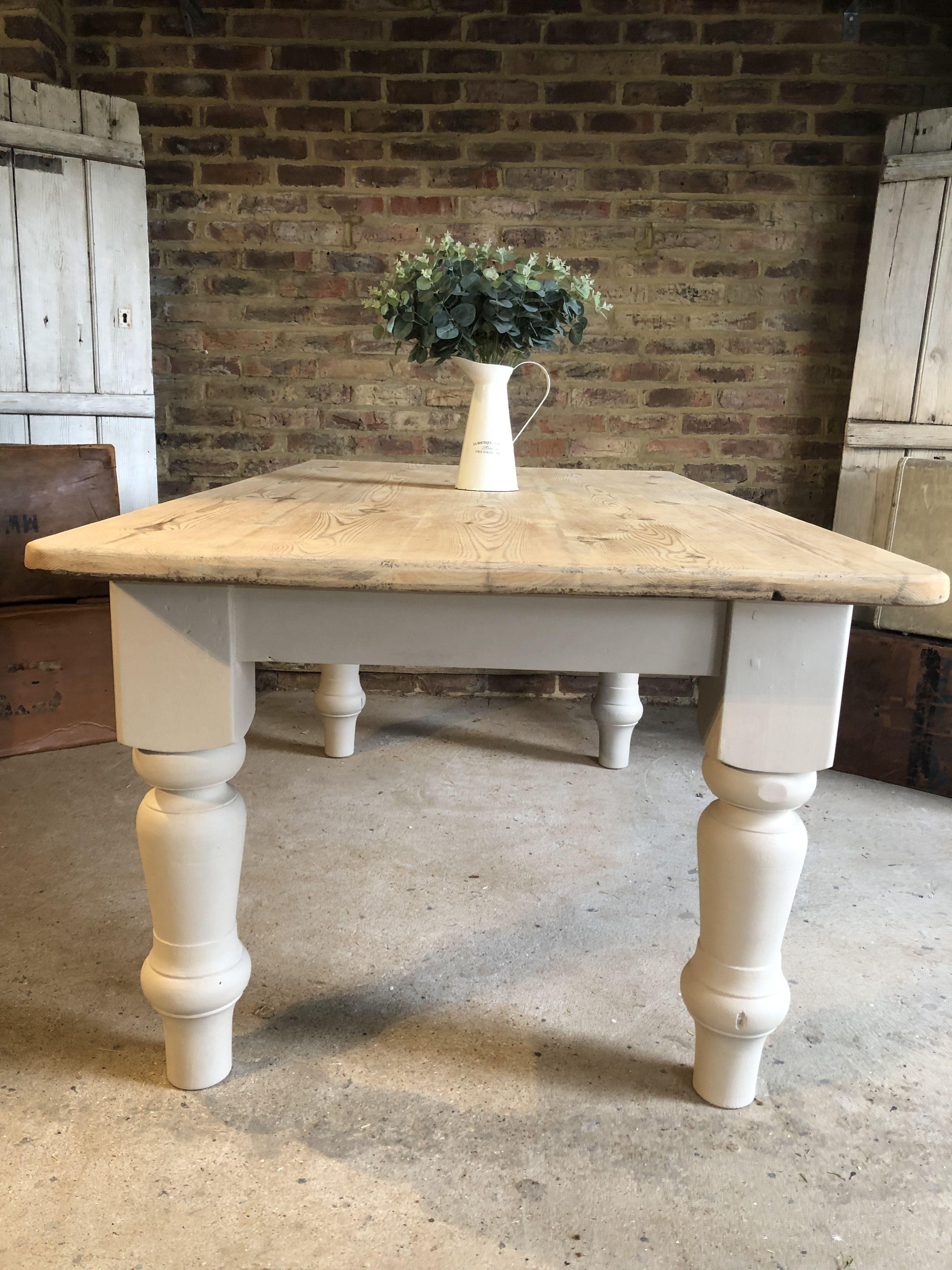 Rustic Pine Farmhouse Table Large 6 Seater Large Farmhouse Table