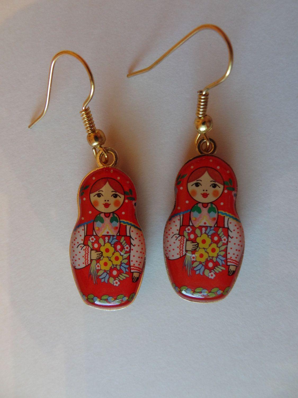 Matryoshka Earrings Babushka Russian Doll Free By Tastefulthings