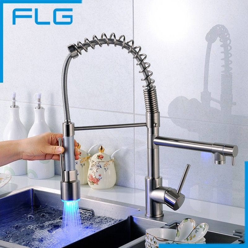 Brushed Nickel Kitchen Faucet Swivel Spout Pull Down Sink Single Hole Mixing Tap