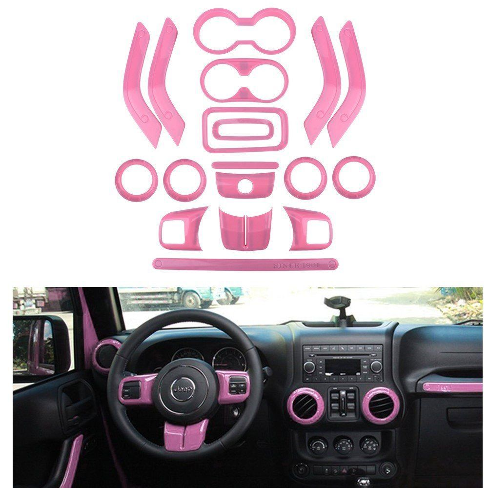 12 Pcs Purple Interior Decoration Trim Kit For Jeep Wrangler 4
