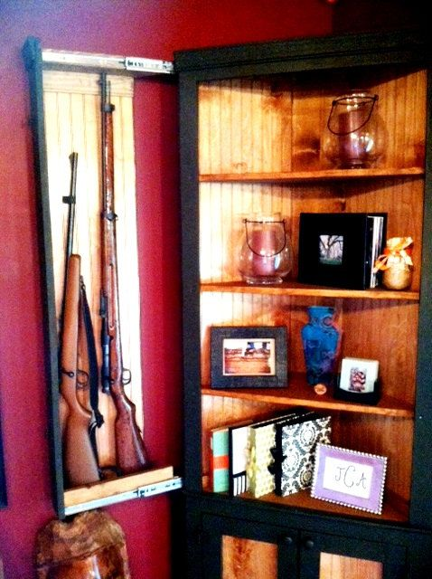 Wooden Corner Shelf Hutch Cupboard Hidden Gun Rack Holder Rifle