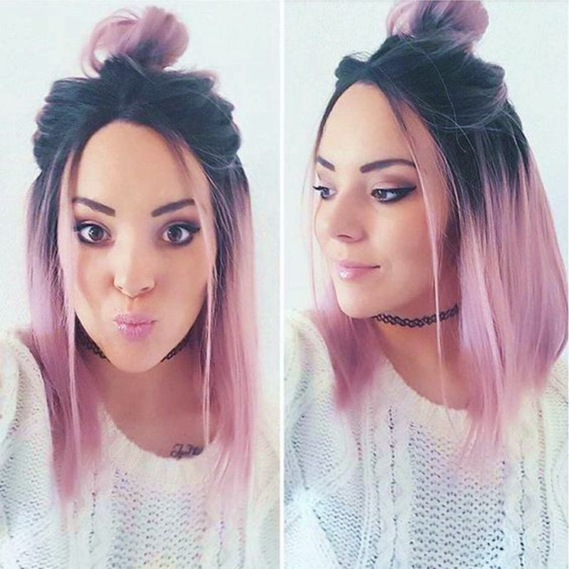New Fashion Ombre Pink Short Bob Wigs Synthetic Lace Front Bob Wig With Dark Roots Pink Heat Resistant Hair With Fre Pink Ombre Hair Hair Styles Beautiful Hair