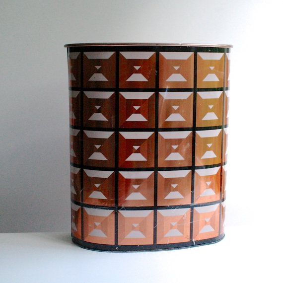 Vintage op art wastebasket copper black and pink by harvell kilgore for the home - Copper wastebasket ...