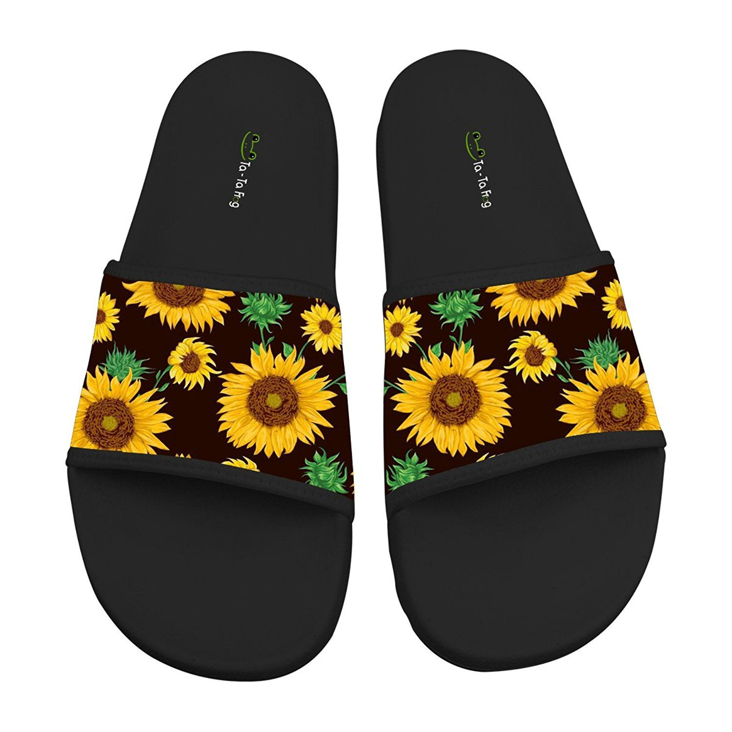bc6493529aa66 Hawaii Sunflower Soft Slide Sandal Slippers Flats Flip Flops Open toed  Summer Beach Shoes for Couples