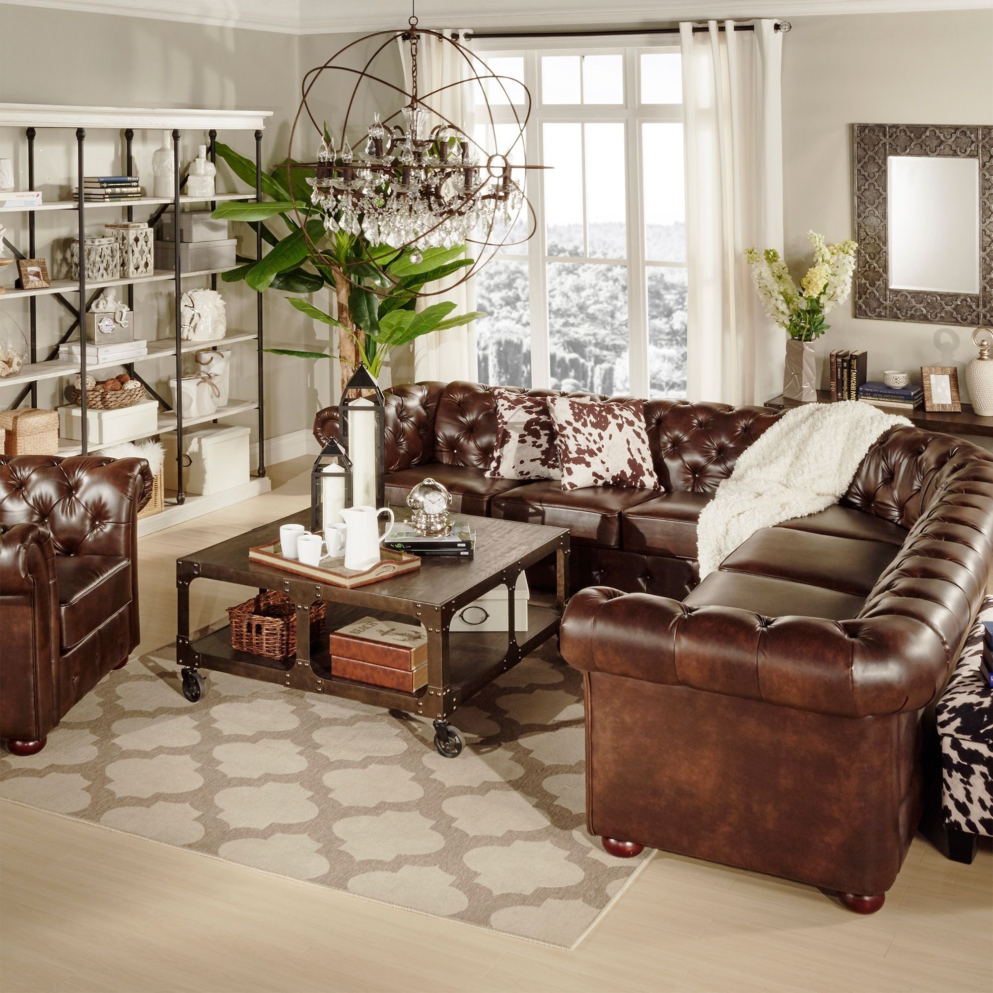 Brown leather sofa Chesterfield living room coffee table chest