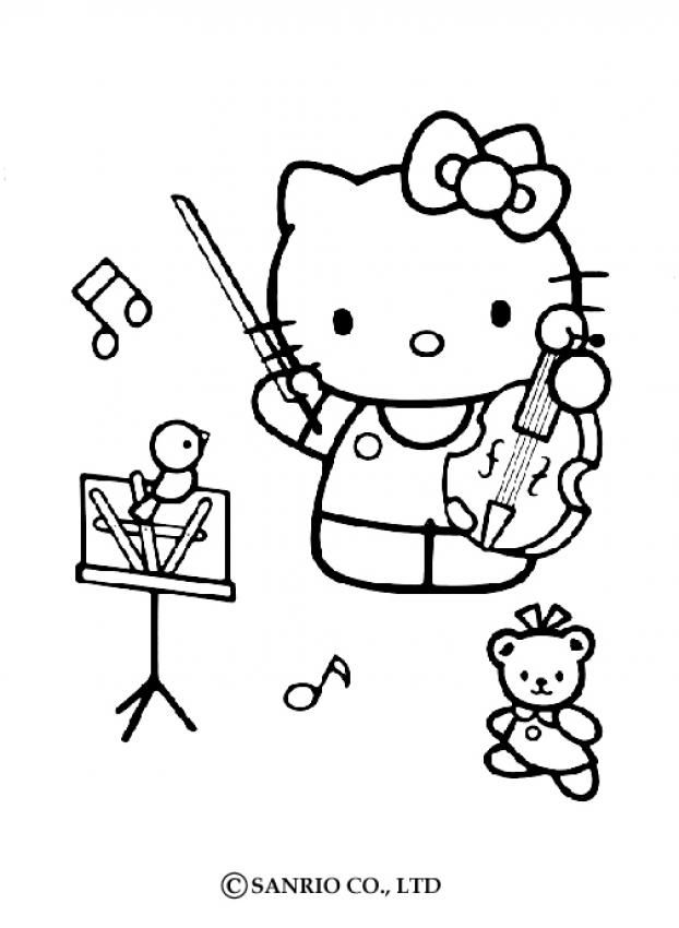 Hello Kitty Playing Violin Color Page